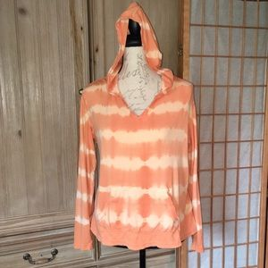 Coral TieDye Long Sleeve Hoodie Kangaroo Pocket XL
